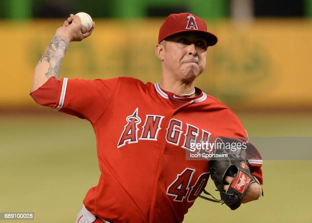 XLos Angeles Angels starting pitcher Jesse Chavez throwing hard but with litter control during a game between the Miami Marlins and the Los Angeles...