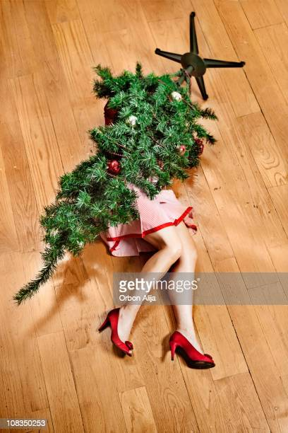 xmas accident - funny christmas stock photos and pictures