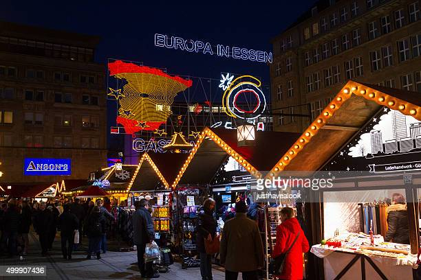 Xmas market boothes on square Willy-Brandt-Platz
