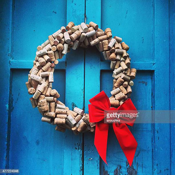 Xmas wreath made from wine corks, Bermuda