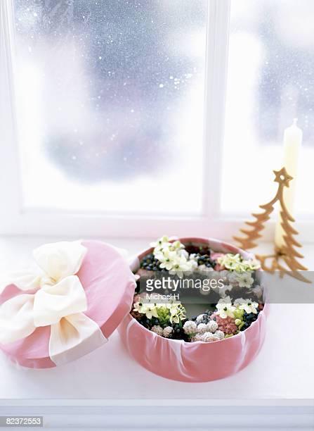 Xmas wreath of wonder flower,scabiosa in pink box