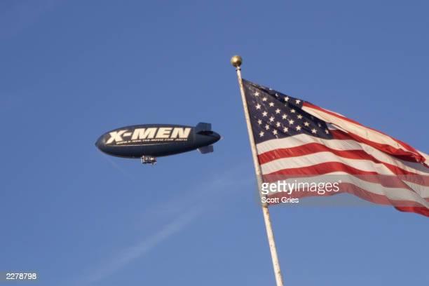 Men promotional blimp fly's over X-men's Premiere Photo: Scott Gries/Getty Images