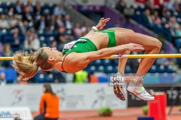 Xénia KrizsánHungary at high jump under Pentathlon for women at European athletics indoor championships in Belgrade on March 3 2017