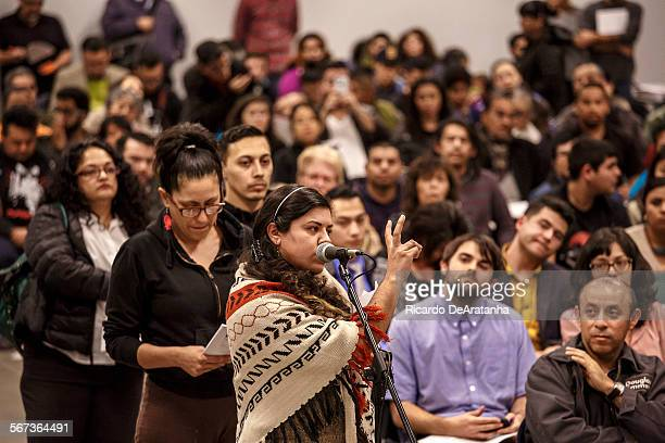 LOS ANGELES CA JANUARY 22 2015 Xochitl Palomera member of Corazon del Pueblo raising questions about affordable housing were among critics of a...
