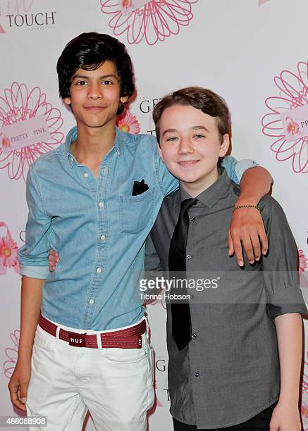 Xolo Mariduena and Benjamin Stockham attend the Get In Touch Foundation's 2nd annual 'Pretty In Pink' luncheon Women Of Strength Awards at Four...