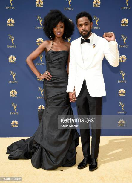 Xosha Roquemore and Lakeith Stanfield attend the 70th Emmy Awards at Microsoft Theater on September 17 2018 in Los Angeles California