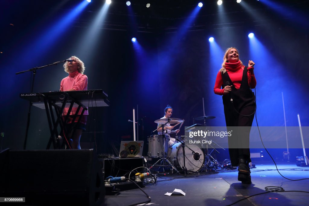 XoXo Cheyenne and Katie Stelmanis of Austra perform at The Roundhouse on November 5, 2017 in London, England.