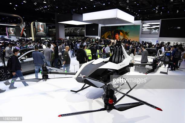 Xpeng Motor Heitech flying vehicle is on displayed during the 19th Shanghai International Automobile Industry Exhibition, also known as Auto Shanghai...