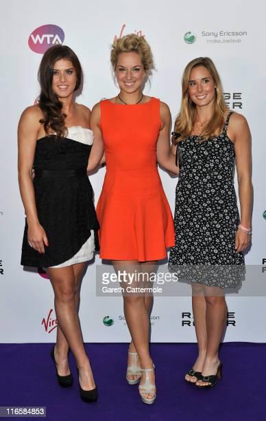 Xperia Hot Shots trio, Sorana Cirstea, Sabine Lisiki and Alize Cornet arrive at the WTA Tour Pre-Wimbledon Party at The Roof Gardens, Kensington on...