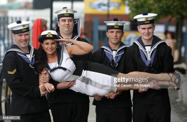 Xpose presenter Lisa Cannon with Liam Williams Tomas MacCionnach pic Brian Hayes and Kevin Hayden members of the Irish Naval service in Dublin Port...