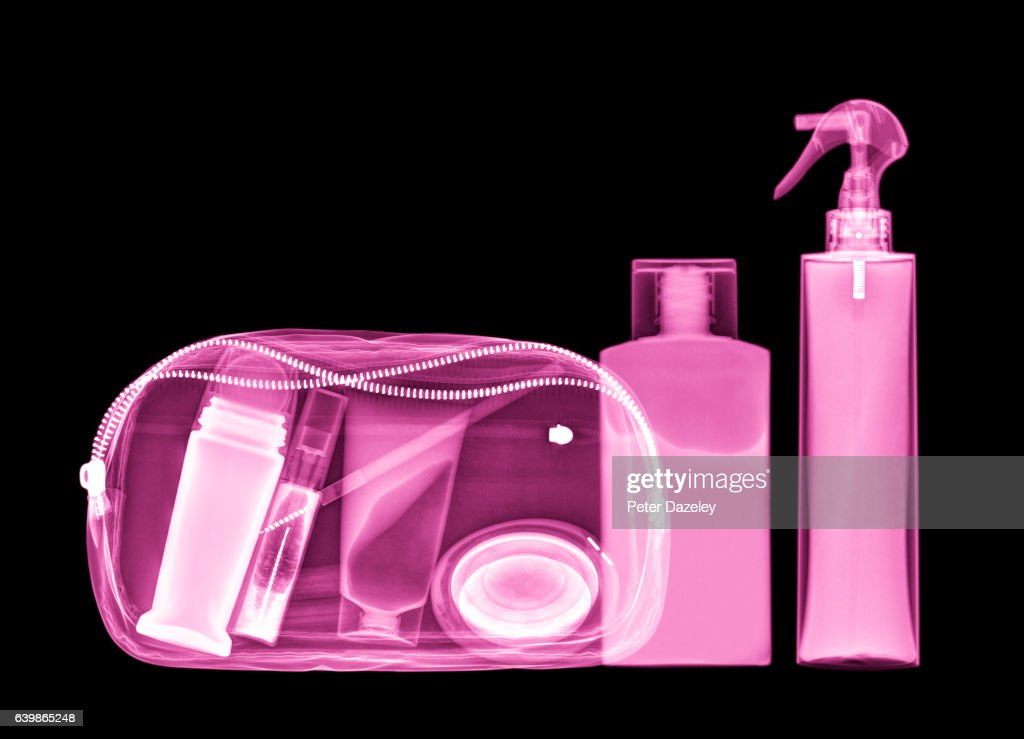 X-ray of cosmetic make up bag : Stock Photo