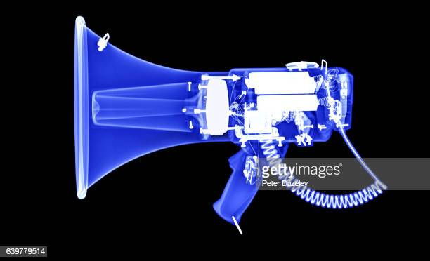 x-ray of megaphone in blue - megaphone stock pictures, royalty-free photos & images