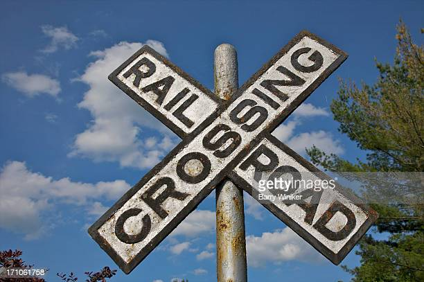 X-shaped railroad warning sign