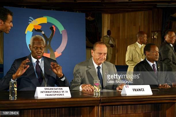 Xth French Speaking Summit Press Conference. On November 27, 2004 In Ouagadougou, Burkina Faso. Abdou Diouf French Speaking Organization President,...