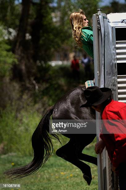 XTREMECOWBOY30a Wylene Wilson of Queen Creek AZ gets her horse in the trailer fast by grabbing the top and riding Black Widow in during the Rocky...