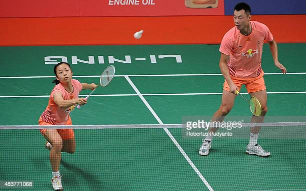 Xu Chen and Ma Jin of China compete against Liao Min Chun and Chen Hsiao Huan of Taipei in the 2015 Total BWF World Championship at Istora Senayan on...
