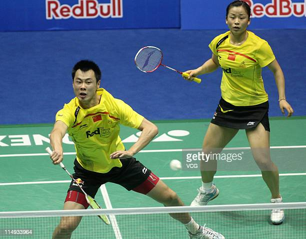 Xu Chen and Ma Jin of China compete in final match against Joachim Fischer Nielsen and Christinna Pedersen of Denmark during day eight of the the...