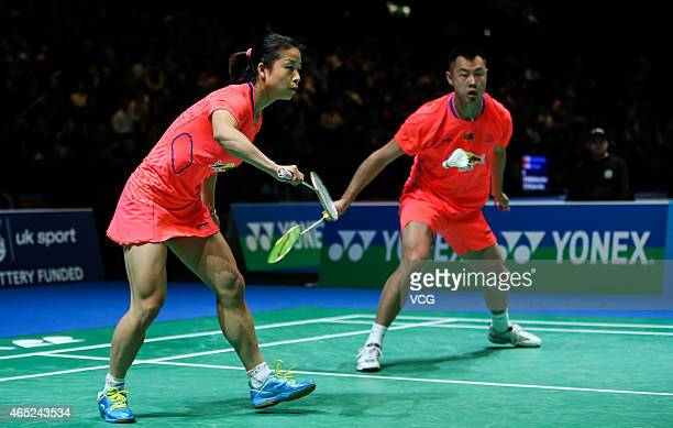 Xu Chen and Ma Jin of China in action during Mixed Doubles match against Praveen Jordan and Debby Susanto of Indonesia on day two of YONEX All...