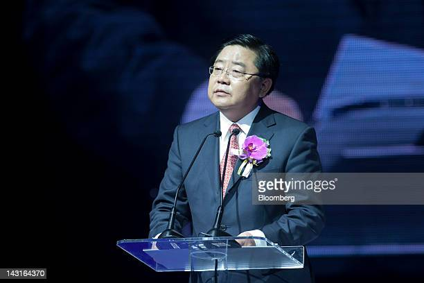Xu Jianyi chairman of China FAW Group Corp speaks during the relaunch of the Red Flag sedan in Beijing China on Friday April 20 2012 China FAW built...