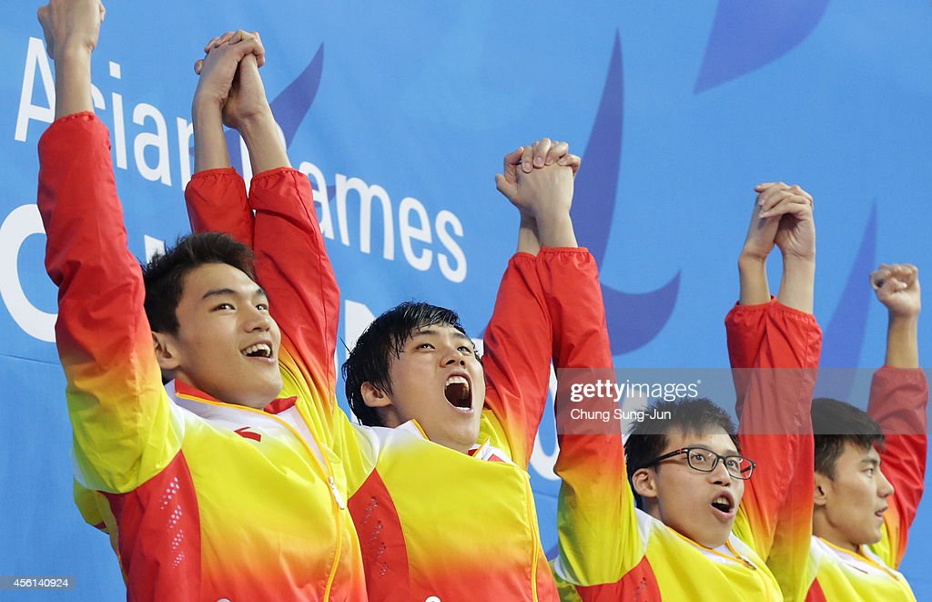 Xu Jiayu, Li Xiang, Li Zhauhao and Ning Zetao of China celebrate after winning the Men's 4 X 100m Medley during the 2014 Asian Games at Munhak Park Tae-Hwan Aquatics Center on September 26, 2014 in Incheon, South Korea.