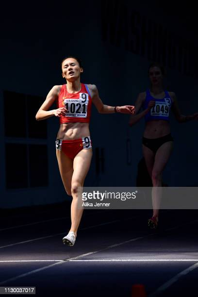 Xu Shuangashuang of China wins the women's one mile run at Dempsey Indoor Center on February 15 2019 in Seattle Washington
