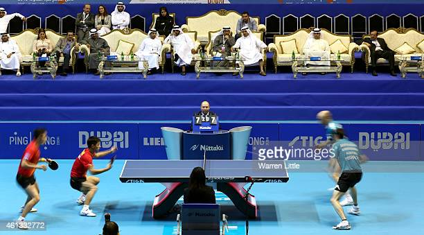 Xu Xi and Zhang Jike of China in action against Stefan Fegrel and Daniel Habesohn of Austria during the Men's Final of the 2015 ITTF World Team Cup...