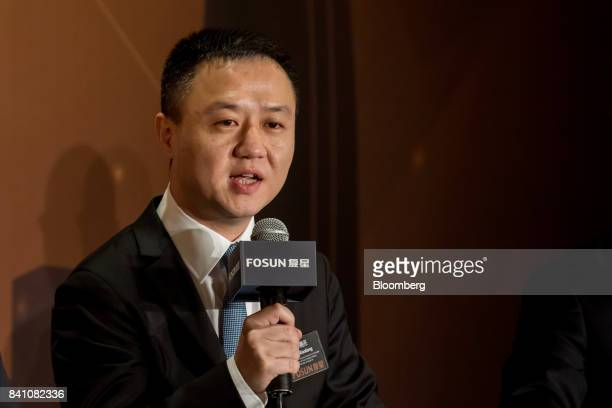 Xu Xiaoliang copresident of Fosun International Ltd speaks during a news conference in Hong Kong China on Thursday Aug 31 2017 Fosun the listed...