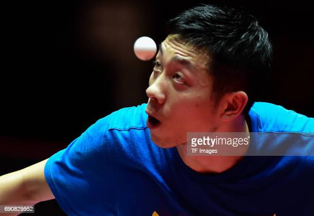 """Xu xin """"n in action during the Table Tennis World Championship at Messe Duesseldorf on May 29, 2017 in Dusseldorf, Germany."""