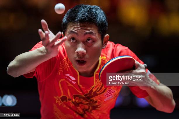 Xu Xin of China attends the Men's Singles Semi Final match of the Table Tennis World Championship at Messe Duesseldorf on June 5, 2017 in Dusseldorf,...