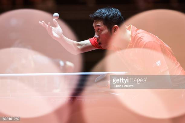 Xu Xin of China attends the Men's Singles Semi Final match of the Table Tennis World Championship at Messe Duesseldorf on June 5 2017 in Dusseldorf...