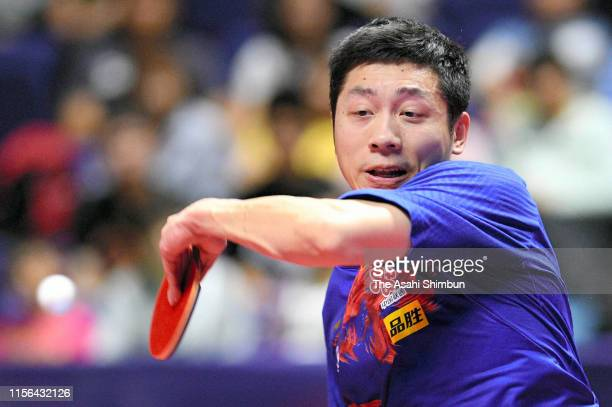 Xu Xin of China competes in the Men's Singles final against Lin Yun-Ju of Chinese Taipei on day five of the ITTF Lion Japan Open at Hokkaido...