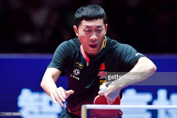 Xu Xin of China competes in the Men's Singles semifinal match against Lin Gaoyuan of China on day six of the Seamaster 2019 ITTF World Tour Platinum...