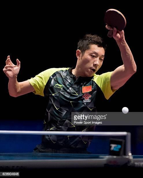 Xu Xin of China in action against Yuto Muramatsu of Japan at their Men's Singles Quarter Final match during the Seamaster Qatar 2016 ITTF World Tour...