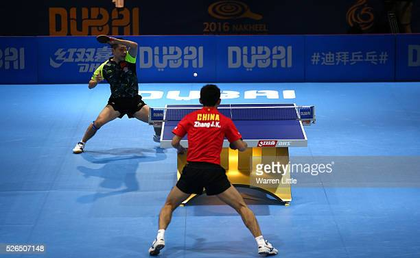Xu Xin of China in action against Zhang Jike of China during the Men's singles final of the Nakheel Table Tennis Asian Cup 2016 at Dubai World Trade...