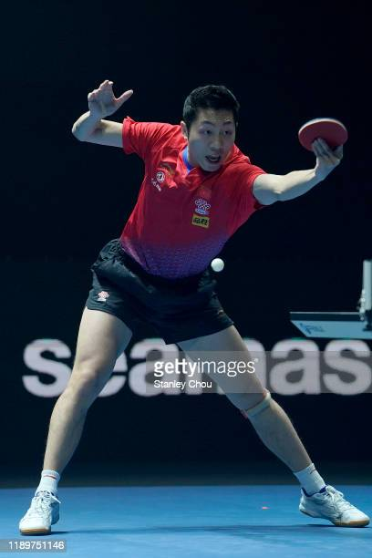 Xu Xin of China in action during the men's final of the T2 Diamond 2019 Singapore at the Our Tampines Hub on November 24, 2019 in Singapore.