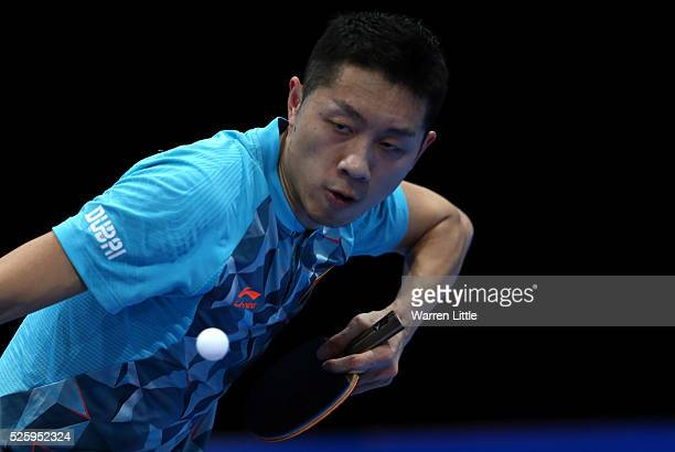 Xu Xin of China in action during the Men's Quarter Final match against Lee Sangsu of Korea during day two of the Nakheel Table Tennis Asian Cup 2016...