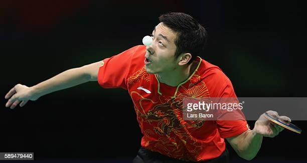 Xu Xin of China is seen during the Table Tennis Men's Team Quarterfinal Match between China and Great Britain on August 14, 2016 in Rio de Janeiro,...