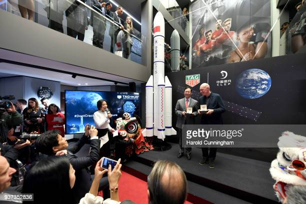 Xu Xingli General Manager at Chang'E Aerospace Technology LLC and JeanClaude Biver TAG Heuer CEO during the TAG Heuer China Lunar Exploration Program...
