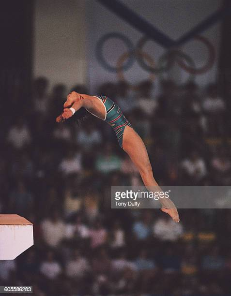 Xu Yanmei of China during the 10 metre platform dive on 18 September 1988 during the XXIV Olympic Games at the Jamsil Indoor Swimming Pool in Seoul...