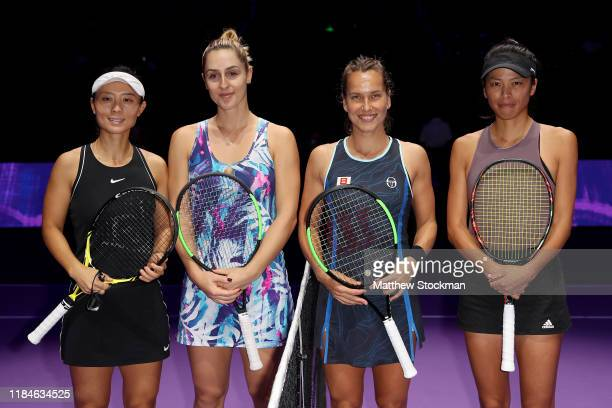 Xu Yifan of China Gabriela Dabrowski of Canada Barbora Strycova of the Czech Republic and SuWei Hsieh of Chinese Taipei pose for a photo prior to...