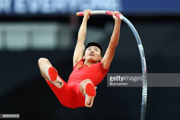 Xue Changrui of China competes in the Men's Pole Vault during day two of the Athletics World Cup London at the London Stadium on July 15 2018 in...