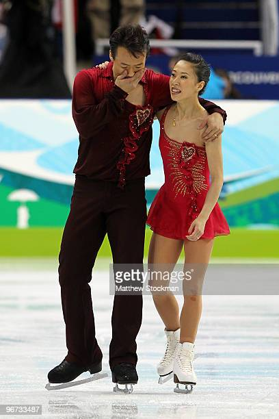Xue Shen and Hongbo Zhao of China react after competing in the Figure Skating Pairs Free Program on day 4 of the Vancouver 2010 Winter Olympics at...