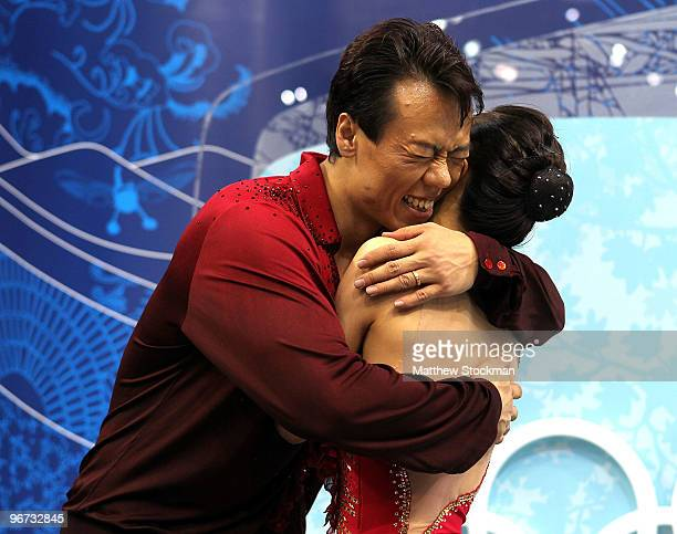 Xue Shen and Hongbo Zhao of China react to winning the gold medal in the Figure Skating Pairs Free Program on day 4 of the Vancouver 2010 Winter...