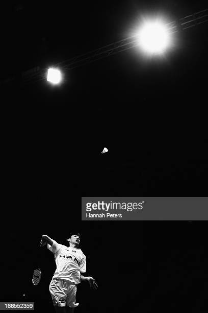 Xue Song of China plays a shot during the New Zealand Badminton Open Men's Singles final match between Takeshita Riichi of Japan and Xue Song of...