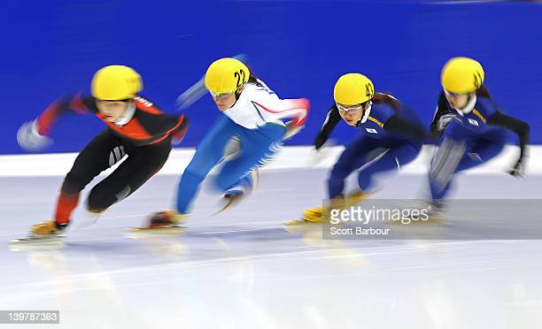 Xue Wang of China Arianna Valcepina of Italy Hyun Sun Hwang of Korea and Se Jung Ahn of Korea compete in the Ladies 500 Metres Semi Final on day two...