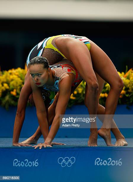 Xuechen Huang and Wenyan Sun of China compete in the Synchronised Swimming Duets Free Routine final on Day 11 of the Rio 2016 Olympic Games at the...