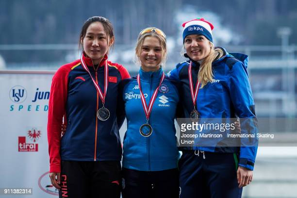 Xueqing Zhao of China Laura Peveri of Italy and Sterre Jonkers of Netherlands pose in the Ladies Mass Start medal ceremony during day two of the ISU...