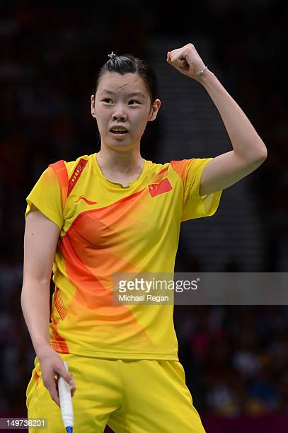 Xuerui Li of China celebrates winning against compatriot Xin Wang of China in the Women's Singles Badminton SemiFinal on Day 7 of the London 2012...