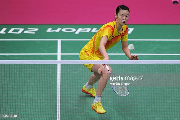 Xuerui Li of China competes against compatriot Xin Wang of China in the Women's Singles Badminton SemiFinal on Day 7 of the London 2012 Olympic Games...
