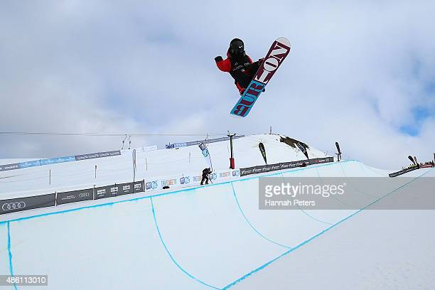 Xuetong Cai of China competes in the FIS Snowboard World Cup Halfpipe Finals during the Winter Games NZ at Cardrona Alpine Resort on August 30 2015...
